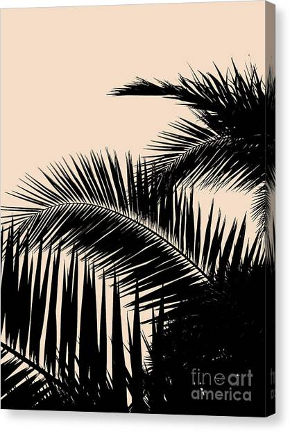 Palms On Pale Pink Canvas Print