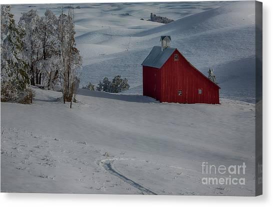 Palouse Saltbox Barn Winter Canvas Print