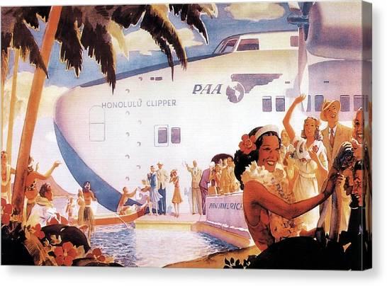 Seaplanes Canvas Print - Pan American Airways - Hawaiians Greeting People - Retro Travel Poster - Vintage Poster by Studio Grafiikka
