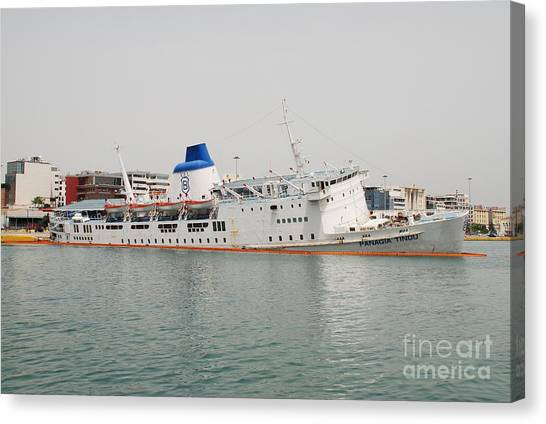 Panagia Tinou Ferry Sinking In Athens Canvas Print