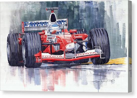 Watercolour Canvas Print - Panasonic Toyota Tf102 F1 2002 Mika Salo by Yuriy Shevchuk