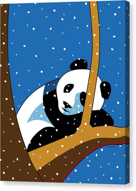 Winter Fun Canvas Print - Panda At Peace by Ron Magnes