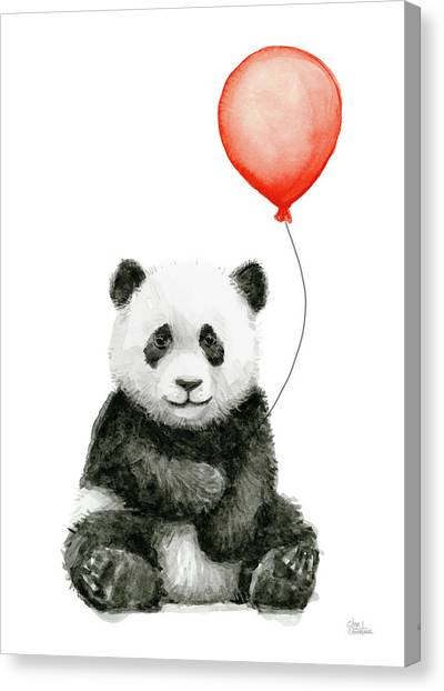Panda Canvas Print - Panda Baby And Red Balloon Nursery Animals Decor by Olga Shvartsur