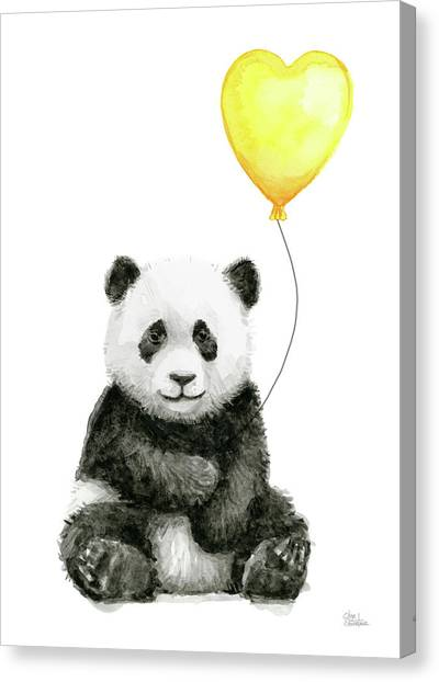 Panda Canvas Print - Panda Baby With Yellow Balloon by Olga Shvartsur