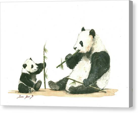 Panda Canvas Print - Panda Family Eating Bamboo by Juan Bosco
