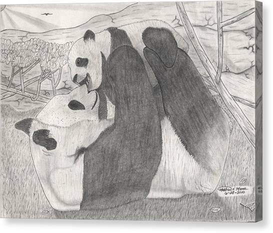 Panda Family Canvas Print by Matthew Moore