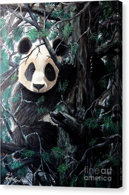 Deforestation Canvas Print - Panda In Tree by Nick Gustafson