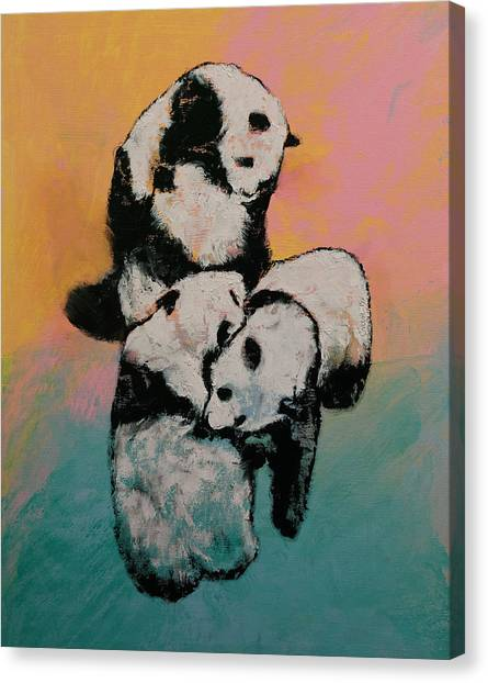 Panda Canvas Print - Panda Street Fight by Michael Creese