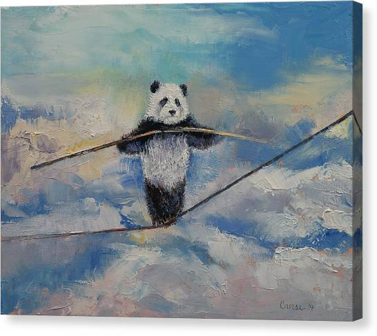 Corde Canvas Print - Panda Tightrope by Michael Creese