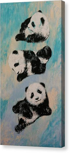 Kung Fu Canvas Print - Panda Karate by Michael Creese