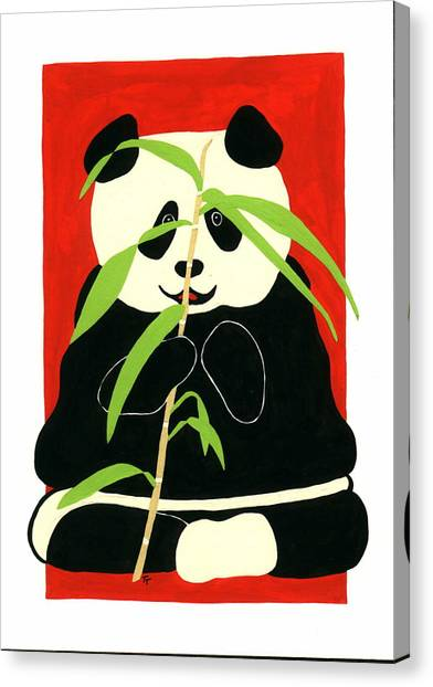 Panda With Bamboo Canvas Print
