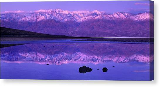 Panorama Badwater And The Panamint Range At Sunrise Death Valley Canvas Print
