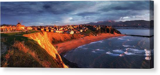 Panorama Of Aixerrota Sunset Canvas Print
