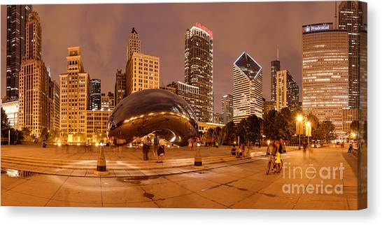 Cloudgate Canvas Print - Panorama Of Anish Kapoor Cloud Gate Aka The Bean At Millenium Park - Chicago Illinois by Silvio Ligutti
