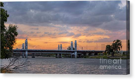 Texas Christian University Canvas Print - Panorama Of I-35 Jack Kultgen Highway Bridges At Sunset From The Brazos Riverwalk - Waco Texas by Silvio Ligutti