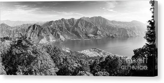 Canvas Print featuring the photograph Panorama Of Lake Atitlan Black And White by Tim Hester