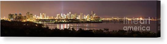 Panorama Of Miami At Night Canvas Print by Matt Tilghman