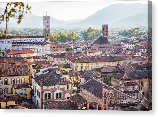 panorama of old town Lucca, Italy Canvas Print