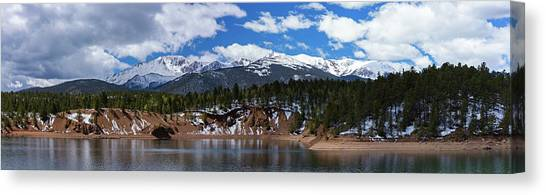 Treeline Canvas Print - Panorama Of South Catamount Reservoir With Pike's Peak Covered I by Bridget Calip