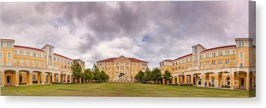 Texas Christian University Canvas Print - Panorama Of Texas Christian University Campus Commons - Fort Worth - Texas by Silvio Ligutti