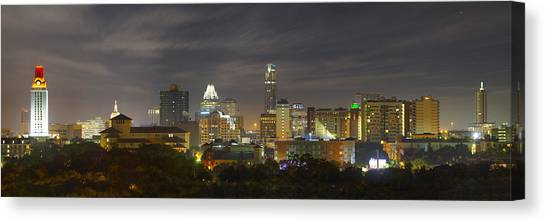 Austin Texas Canvas Print - Panorama Of The Austin Skyline On A September Morning by Rob Greebon
