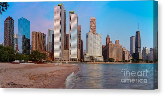 Chicago Fire Canvas Print - Panorama Of The Chicago Skyline From Milton Lee Olive Park At Sunrise - Chicago Illinois by Silvio Ligutti