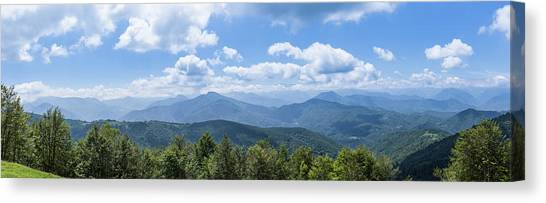 Panorama Of The Foothills Of The Pyrenees In Biert Canvas Print