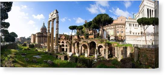 Panorama Of The Roman Forum Canvas Print