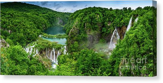 Panorama Of Turquoise Lakes And Waterfalls - A Dramatic View, Plitivice Lakes National Park Croatia Canvas Print