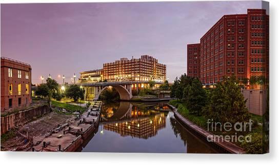 University Of Houston Canvas Print - Panorama Of University Of Houston Downtown At Twilight - Reflection On Buffalo Bayou - Houston Texas by Silvio Ligutti