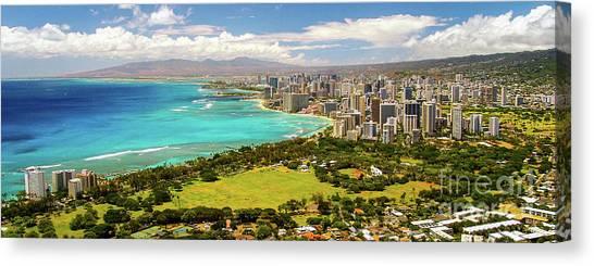 Canvas Print featuring the photograph Panorama - Waikiki, Honolulu, Oahu, Hawaii by D Davila