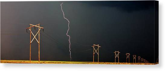Lightning Canvas Print - Panoramic Lightning Storm And Power Poles by Mark Duffy