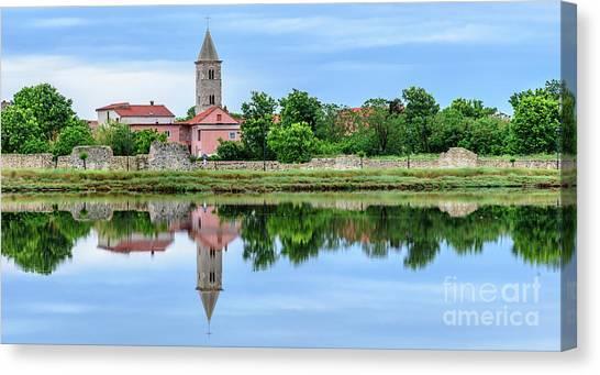 Panoramic Reflections Of Nin, Croatia Canvas Print