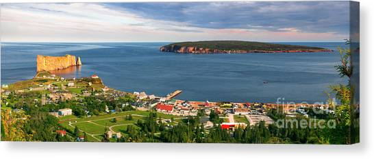 Canvas Print featuring the photograph Panoramic View In Perce Quebec by Elena Elisseeva