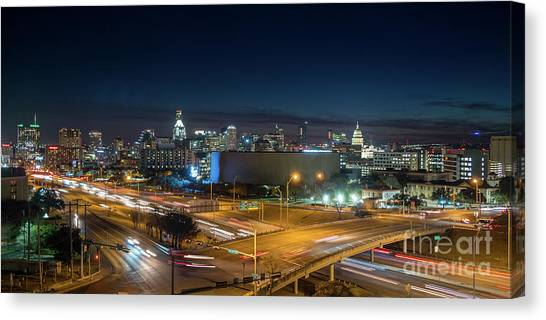 Panoramic View Of Busy Austin Texas Downtown Canvas Print