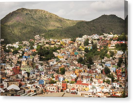 Guanajuato Canvas Print - Panoramic View Of Colorful Hillside Homes In Guanajuato Mexico by Juli Scalzi