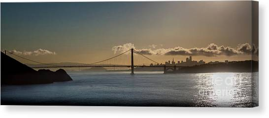 Panoramic View Of Downtown San Francisco Behind The Golden Gate  Canvas Print
