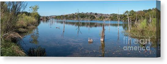 Panoramic View Of Large Lake With Grass On The Shore Canvas Print