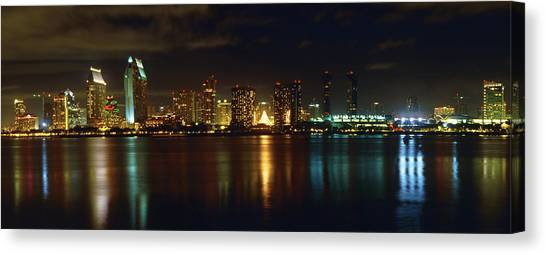 Panoramic View Of San Diego At Night Canvas Print by George Oze