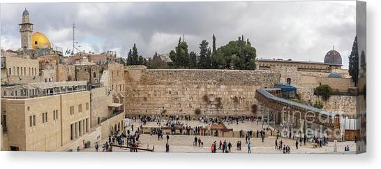 Panoramic View Of The Wailing Wall In The Old City Of Jerusalem Canvas Print