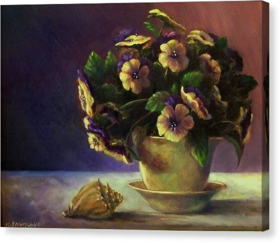 Pansies And Celadon Canvas Print by Ruth Stromswold