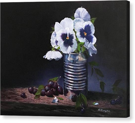 Pansies In A Can Canvas Print
