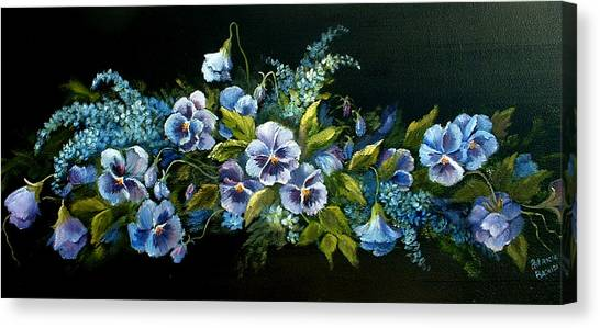Pansies In Blue On Black Canvas Print