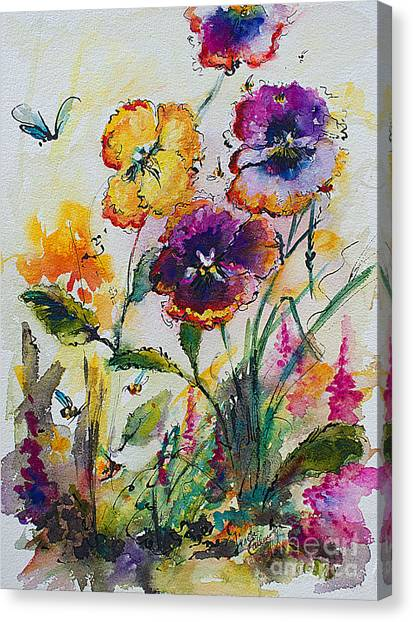 Pansies In My Garden Watercolor And Ink Canvas Print