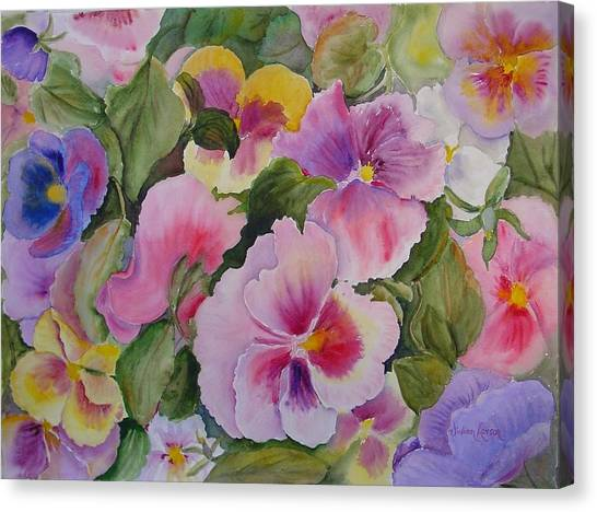 Pansies Too Canvas Print by Vivian Larson