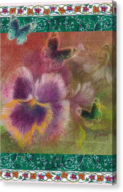 Pansy Butterfly Asianesque Border Canvas Print