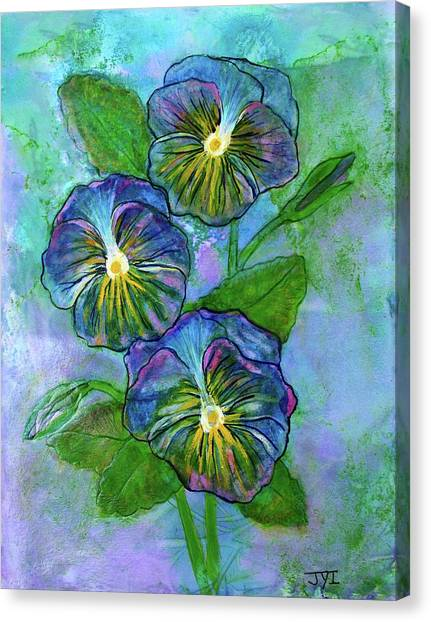 Pansy On Water Canvas Print