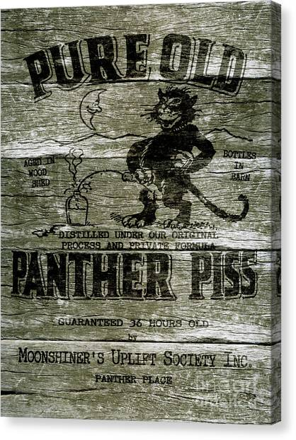 Panthers Canvas Print - Panther Piss Wooden Sign by Jon Neidert