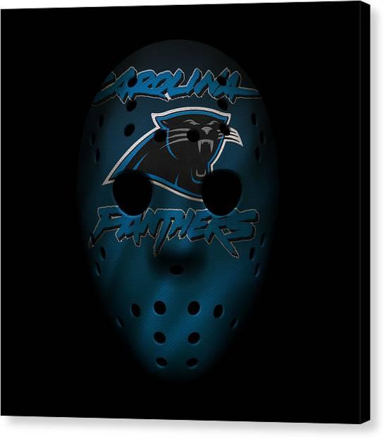 Carolina Panthers Canvas Print - Panthers War Mask 2 by Joe Hamilton