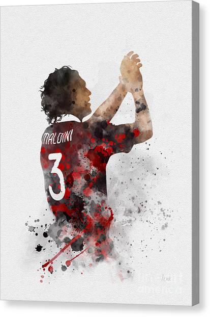 Ac Milan Canvas Print - Paolo Maldini by Rebecca Jenkins